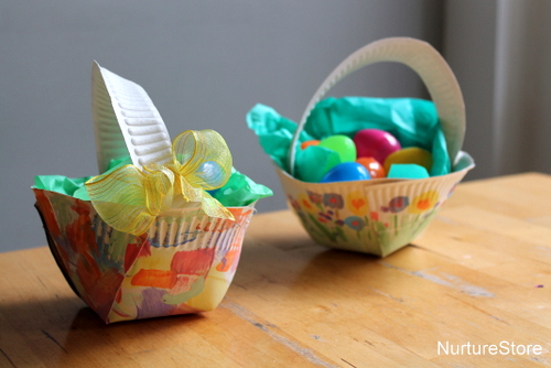 Easter party blog melrose lifestyle services paper plate basket negle Images