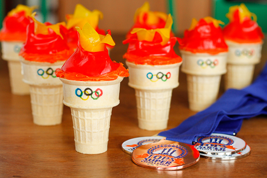 Olympic Torch Cone Cupcakes